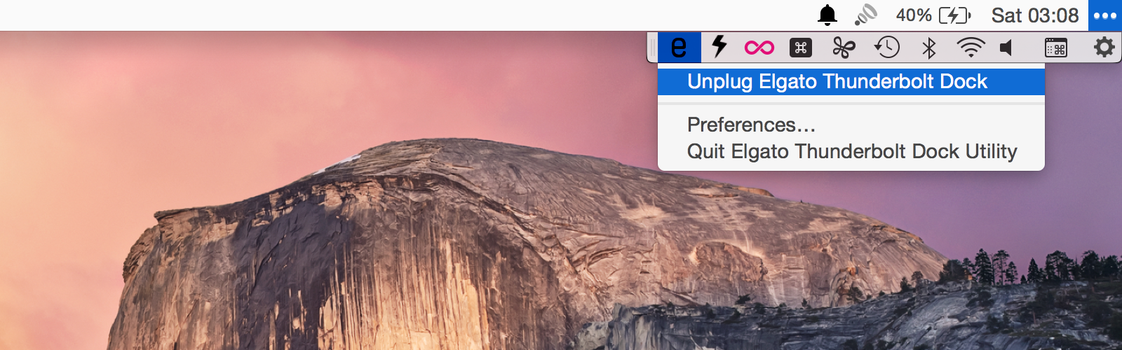 Elgato Thunderbolt 2 Dock menu bar app
