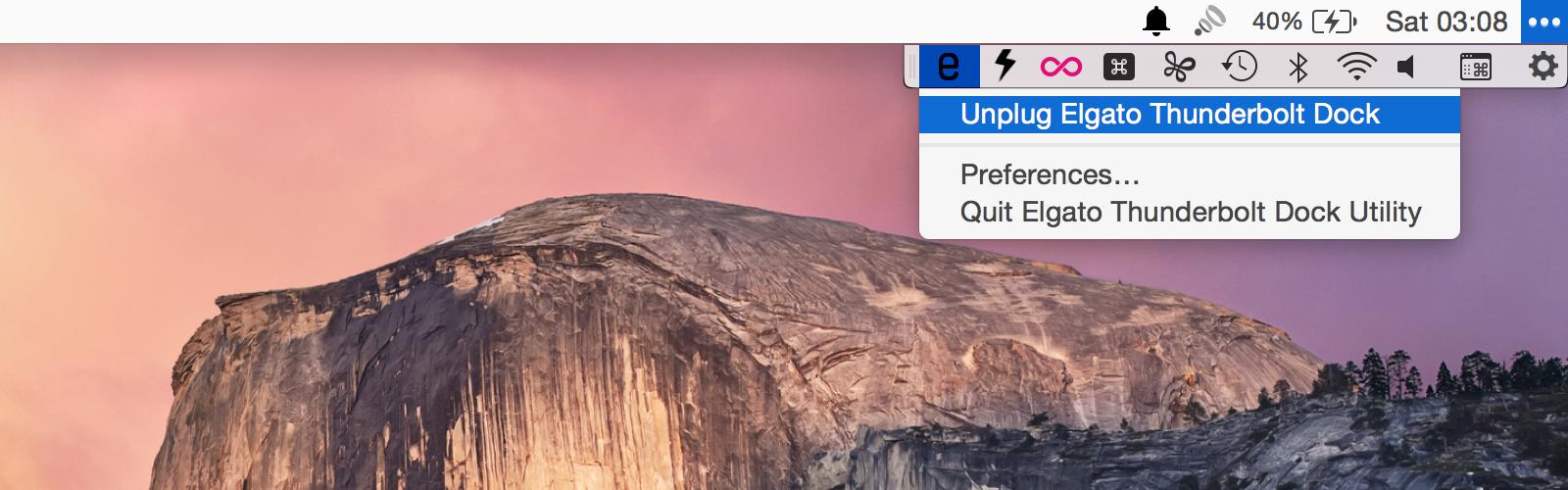 Elgato Thunderbolt 2 Dock menu bar app